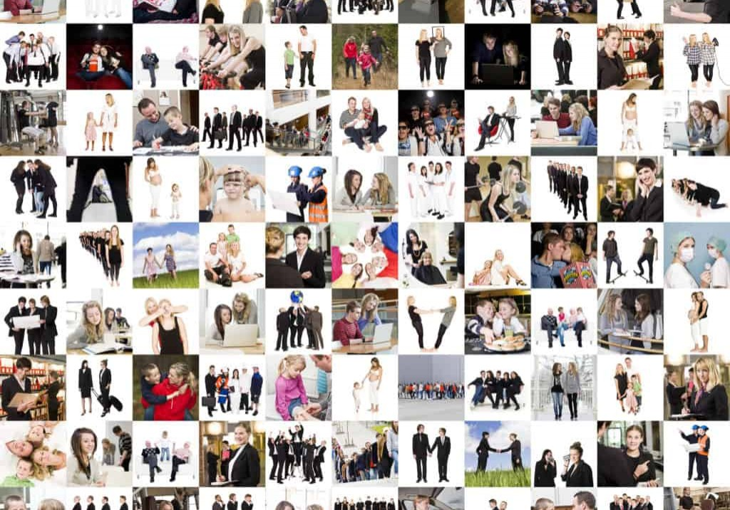 Groups of people in a collage
