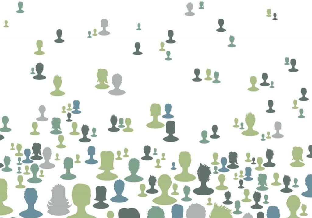 Social network concept background, Many people silhouettes. Vector, EPS8