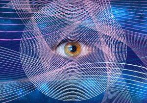 Abstract all-seeing eye. New world order. Eye of Providence. Horus eye Egypt. Alchemy, religion, spirituality, occultism. Conspiracy theory. Masonic symbol